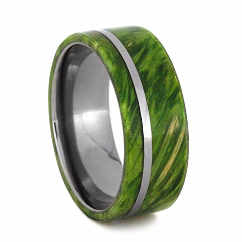 Green Box Elder Wood, Titanium Pinstripe 8mm Comfort-Fit Wedding Band and Sizing Ring, Size 9.25 by The Men's Jewelry Store (Unisex Jewelry)
