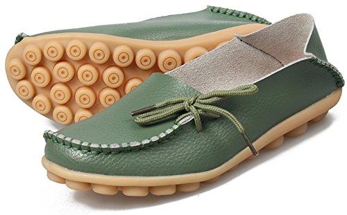 Joansam Dames Sportschoenen Rundleer Instappers Loafers Bootschoenen Platte Schoenen Legergroen