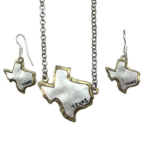 Gypsy Jewels State Shape Map 2 Tone Necklace & Dangle Earrings Set (Texas Silver Tone on Gold Tone)