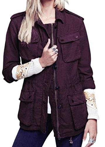 Free People Womens Textured Long Sleeves Military Jacket Red S