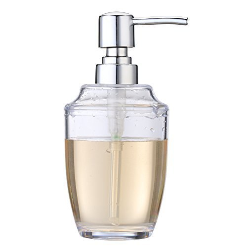 Hand Soap Dispenser Refillable Clear Plastic Pump Bottles  Countertop Lotion 12 Ounce  More for Kitchen or Bathroom (Plastic Soap Dispenser)
