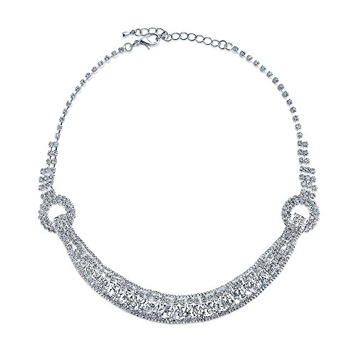 Bling Jewelry Art Deco Style Bridal Fashion Crystal Statement Collar Choker Necklace for Women for Teen for Pageant for Prom ()
