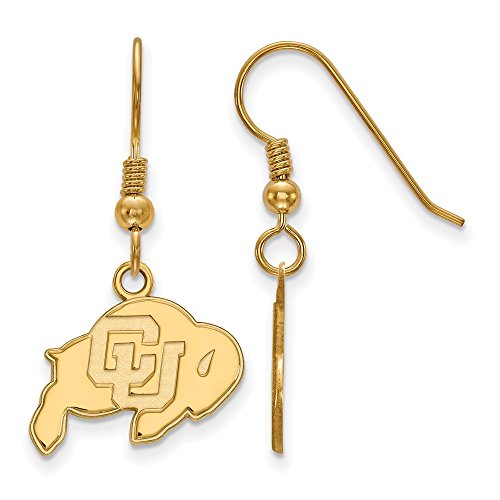 Sterling Silver w/ 14K Yellow Gold-Plated LogoArt Official Licensed Collegiate University of Colorado (UC) Small Dangle Earrings by LogoArt
