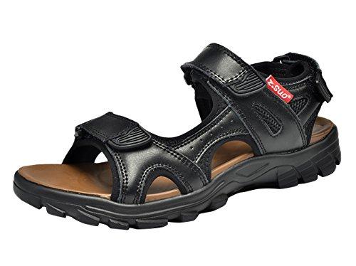Insun Herren Leder Klettverschluss Sandalen Sport Outdoor Sandaletten Fitnessschuhe Schwarz