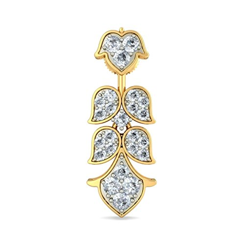 18K Or jaune 0,96CT TW White-diamond (IJ   SI) Pendants d'oreilles