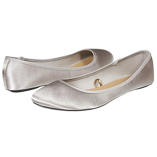 Sara Z Womens Fashion Casual Slip-On Classic Satin Ballet Flat Shoes Size 11 Taupe