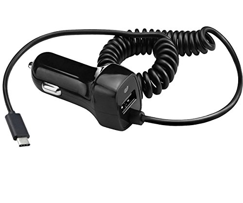 KOMEI USB Type C Car Charger, LG G5 Car Charger,Vehicle Ultra Rapid Car Charger USB C Cable for Galaxy S8/ S8 Plus, LG V20, OnePlus 3, Nexus 6P, Nexus 5X, ChromeBook Pixel and More(Black)
