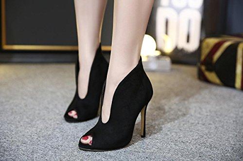 Mujer Sandalias Estilete Señoras Alto Tacón Zapatos Ante V puerto Negro marrón Fiesta Noche Paseo black