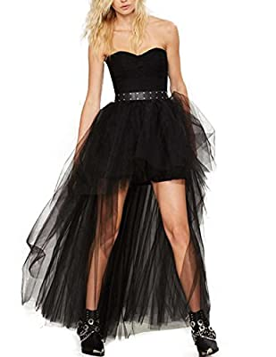 Richlulu Women Sexy Mesh High Low Lightweight Layered Wedding Party Tutu Skirt