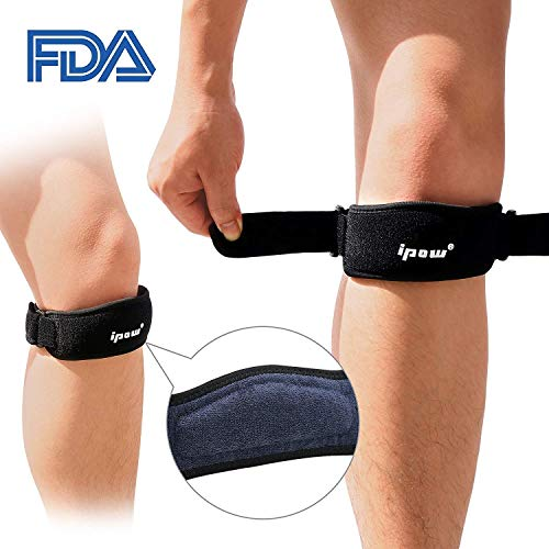 (IPOW 2 Pack Thickened Pad&Wide Patella Knee Strap,Pain Relief Patellar Tendon Support,Adjustable Brace Band for Hiking,Basketball,Running,Jumpers Knee,Volleyball,Tendonitis,Arthritis,Injury)