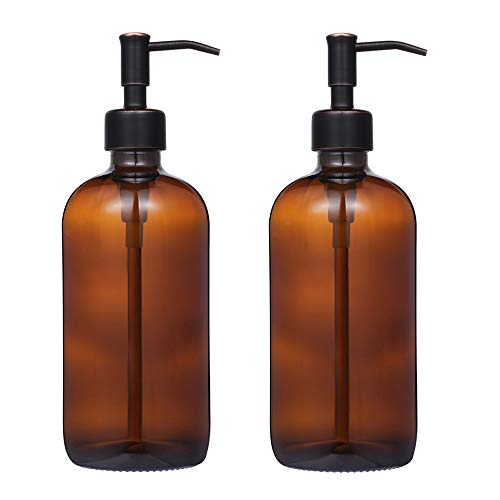 - 2 Pack Thick Amber Glass Pint Jar Soap Dispenser with Oil Rubbed Bronze Stainless Steel Pump, 16ounce Boston Round Bottles Dispenser with Rustproof Pump for Essential Oil, Lotion Soap