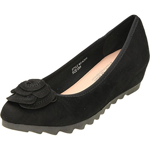 Comfort Plus Wide Fit Concealed Wedge Suede Style Shoes Black To0hvUK
