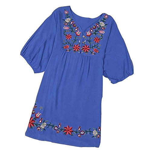 (Asher White Mexican Embroidered Peasant Dressy Tops Blouses (One Size, Blue))