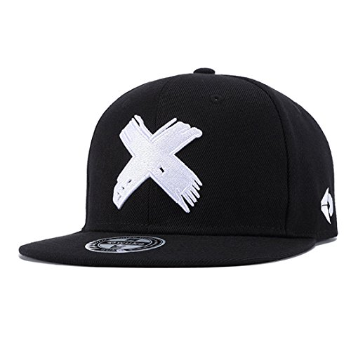 Topcoco Unisex Hip Hop Snapback X Embroidered Solid Flat Bill Baseball Caps White X