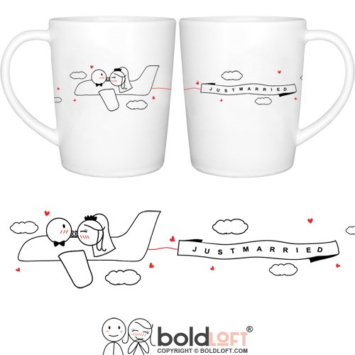 "BOLDLOFT ""Just Married"" His & Hers Wedding Couple Coffee Mugs-Wedding Gifts for Couple,Wedding Gifts for Bride and Groom,Newlywed Gifts,Engagement Gifts for Couples for Him for Her,Bridal Shower Gifts"