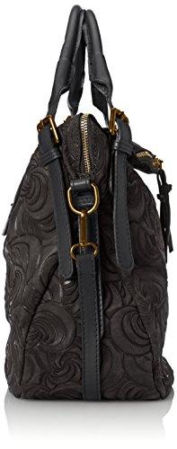 de daim tout géométriques Nero Cm Élégant main en 40x30x15 fabriqué sac Noir à fourre sac avec motifs femme en la italien Italie CTM véritable des cuir en IB6qB