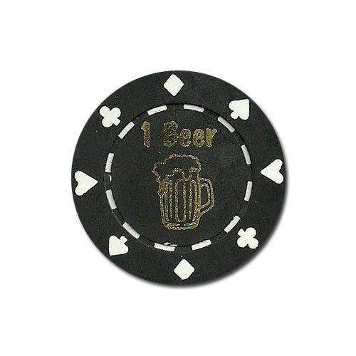 Drink Chips Free 25 - Set of 25 ONE (1) Beer Poker Chip Button Marker Tokens - Includes Bonus Chip Carrying Tube!