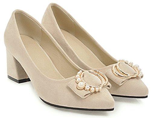 Idifu Femmes Doux Faux Suède Chunky Mi-perle Perles Bout Pointu Sur Les Pompes Nuptiales Chaussures Beige