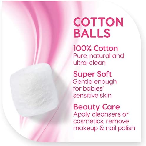 Simply Soft Premium Cotton Balls, 100% Pure Cotton, Absorbent, 200 Count (Pack of three)