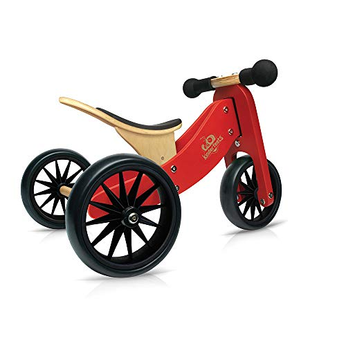 Kinderfeets TinyTot Wooden Balance Bike and Tricycle in 1! Ages 12-24 Months. RED (Bicycle Tote)