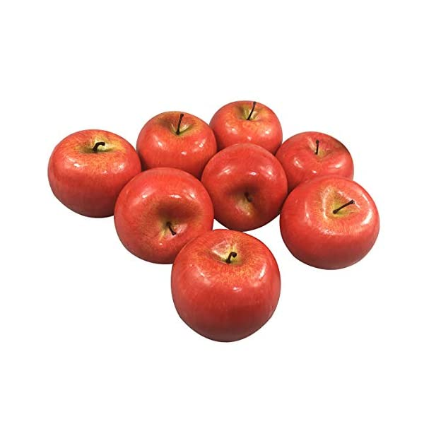 6pc Artificial Apple Variety Extra-large 3.75-inch Plastic Round Apples Fruit Six Pieces Red Green Yellow Viabella
