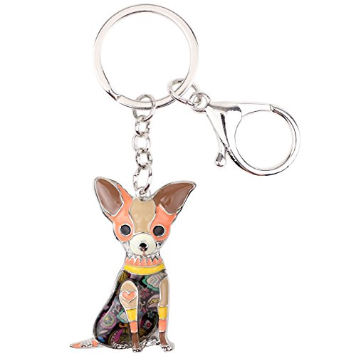 Chihuahua Keychain - Bonsny Enamel Alloy Chain Chihuahua Key Chains For Women Jewelry Car Purse Handbag Charms (Brown)