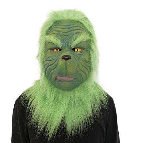 Pausseo 3D Green Mob Ghost Cosplay Grinch Mask Melting Face Latex Costume Collectible Prop Scary Mask Toy Latex Head Costume Props Helmet Prank Joking Christmas Decoration Prop Party -