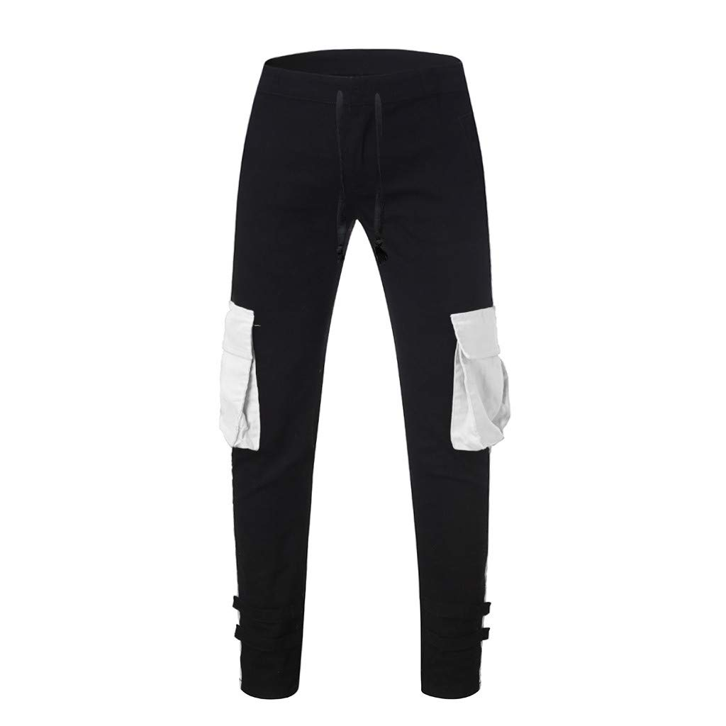 Emerayo Men/'s Hip Hop Slim Fit Jogger Pants Low Crotch Drawstring Sweatpants Hip Hop Trousers with Big Side Pockets