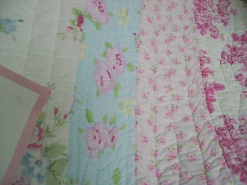 King Quilt Set Shabby Patchwork Vintage Pink Rose Chic w/ 3 shams 4 PC Set