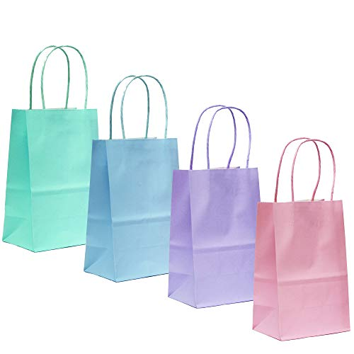 24CT SMALL PASTEL BIODEGRADABLE, FOOD SAFE INK & PAPER, PREMIUM QUALITY PAPER (STURDY & THICKER), KRAFT BAG WITH COLORED STURDY HANDLEs (Small, Pastel)