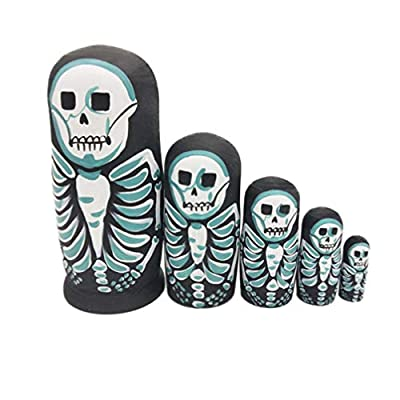 SUPVOX Russian Nesting Dolls Skeleton Stacking Dolls 5 Layers Wooden Matryoshka Dolls Skeleton Figurines Ornaments Collection Toy Birthday Gift: Home & Kitchen