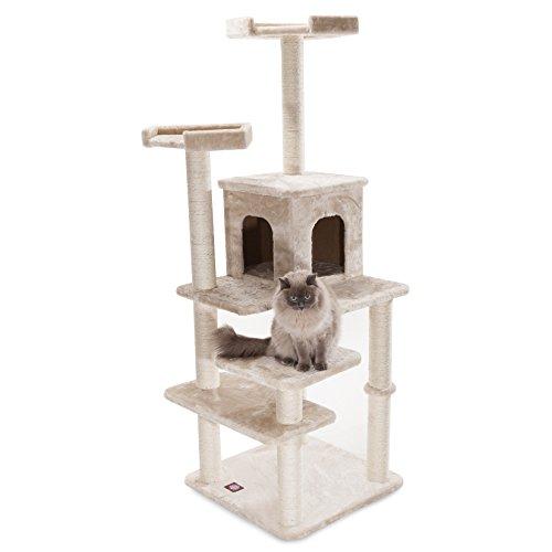 Majestic Pet Products 66 inch Beige Casita Cat Furniture Condo House Scratcher Multi Level Pet Activity Tree ()