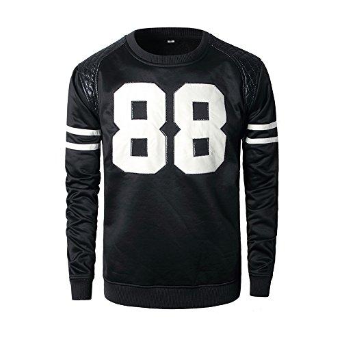 Madhero Men's 88 Embroidery Round Neck Shirt (L, Black)