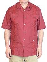 Squish 100% Cotton Cuban Style Guayabera Shirt / Red