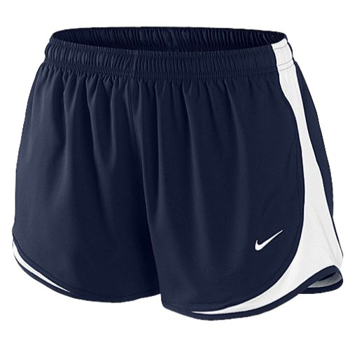 Nike Womens Tempo Track Running Shorts Black White (X-Small, Navy-White)