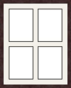 ArtToFrames 1.25-Inch Espresso Picture Frame with 4 Openings of 8 by 11-Inch and a Super White Top Mat and Black Bottom Mat