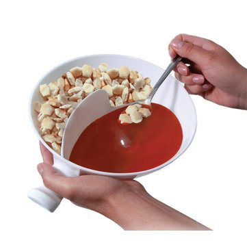 Moldable Grain Stadium - Multifunctional Plastic Cereal Bowl Snack Container Separate Milk Handle Design Grip - Fictile Impressionable Arena Pliant Food Trough Elastic Grass - 1PCs by Unknown