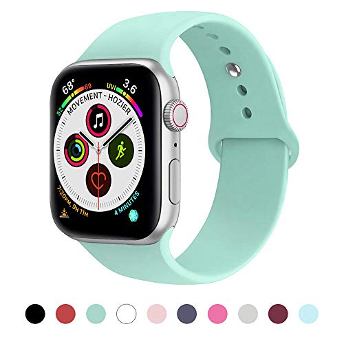 Price comparison product image Muzzai Sport Band Compatible for Apple Watch Band 40mm 44mm 38mm 42mm, Soft Silicone Strap Replacement Band Compatible for Apple Watch Sport Series 4, Series 3, Series 2, Series 1, S / M M / L, Women Man