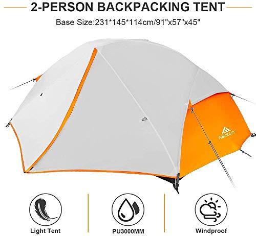 41%2B0D8KR99L Forceatt Zelt 2-3 Personen Camping Zelt, 2 Doors Wasserdicht & Winddicht 3-4 Saison Ultraleichte Rucksack Zelt für…