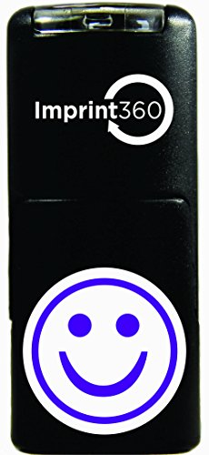 Imprint 360 AS-IMP2020 Round Teacher Stamp - Purple Smiley Face, Purple Ink, Durable, Light Weight Self-Inking Stamp, 5/8