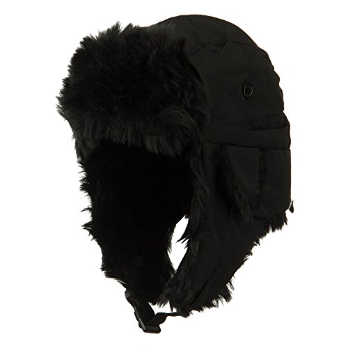 Faux Fur Aviator Trooper Hat - Black S-M