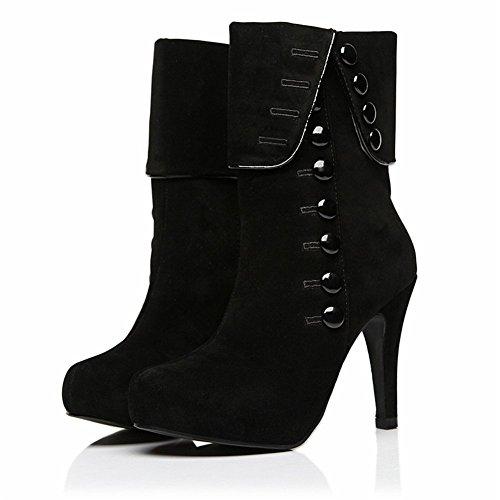 orm Boots Black Woman Winter Boots Plush Stilleo High Heels Round Toe Botton Bootie ()