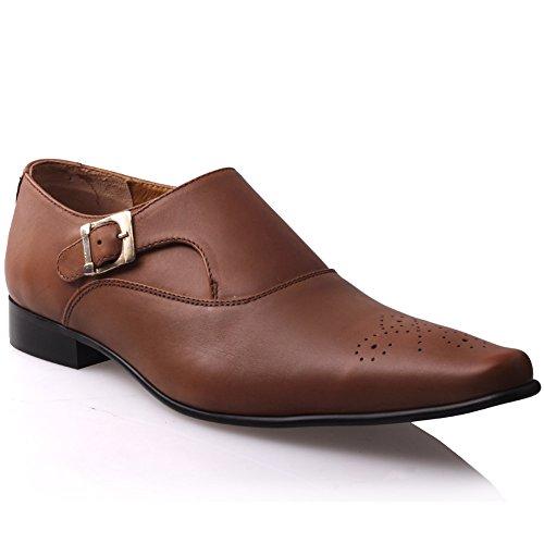 Unze Zapatos de vestir formales Hombres Boanna Bronceado