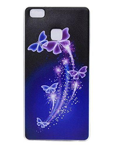 Huawei P9 Lite(2016) Hülle- Ultra Slim TPU Silikon Transparent , Schutzhülle Muster Stoßdämpfend Transparent Spiegel Schutz Handy Hülle Tasche Etui Bumper Huawei P9 Lite(2016)-5,2 Zoll[Butterfly,Schwarz Lila]