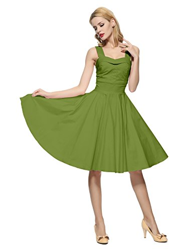 (Maggie Tang 50 60s Vintage Cocktail Swing Rockabilly Ball Gown Dress Olive S)