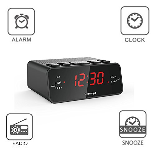 horologe alarm clock radio with dual alarms am fm radio 0 6 digital led display and battery. Black Bedroom Furniture Sets. Home Design Ideas