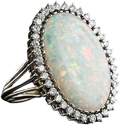 Yazilind Ovale Opal Anneaux Placage dargent Strass incrust/é Bijoux de Mariage pour Les Femmes