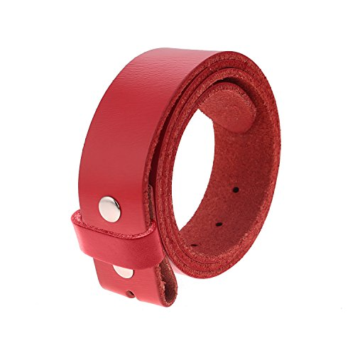(Gelante Genuine Full Grain Leather Belt Strap without Belt Buckle G2016-Red-S)