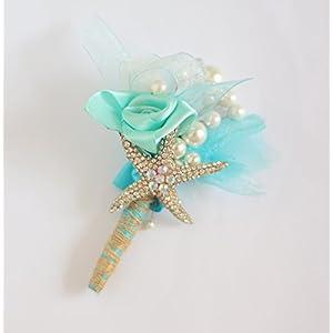 Ocean theme groom corsages, beach wedding starfish shell hemp Men's brooch, bridegroom jewelry accessories lapel flowers,Boutonniere (5) 43