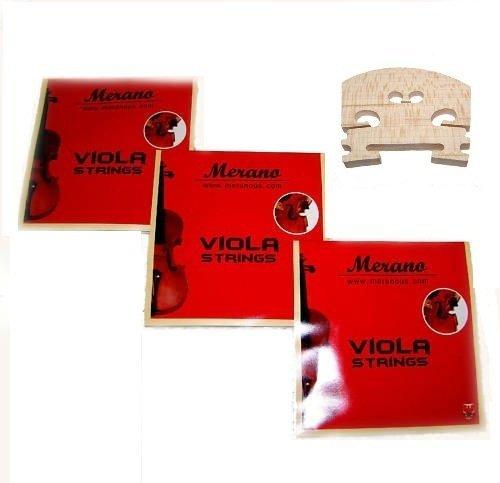 3 Sets Merano STA100 14'' Viola String + Bridge by Merano